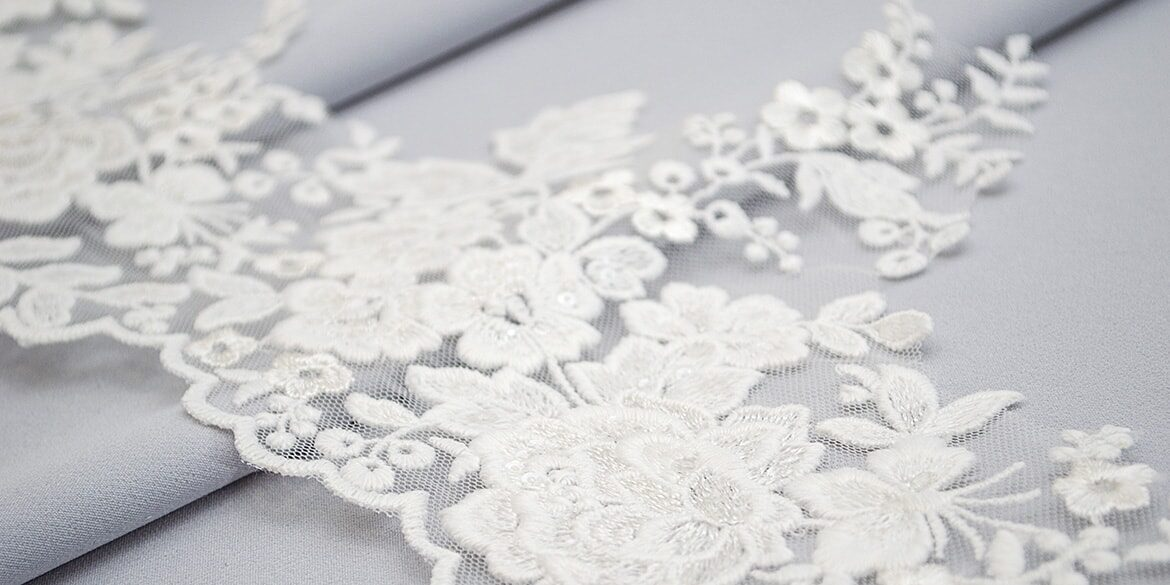 Sequined lace trim