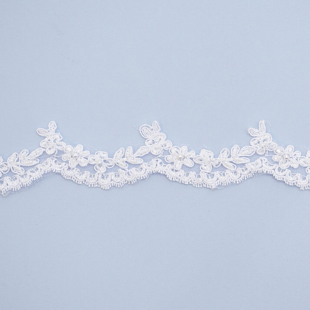 Embroidered lace trim L9328-1CB-N44