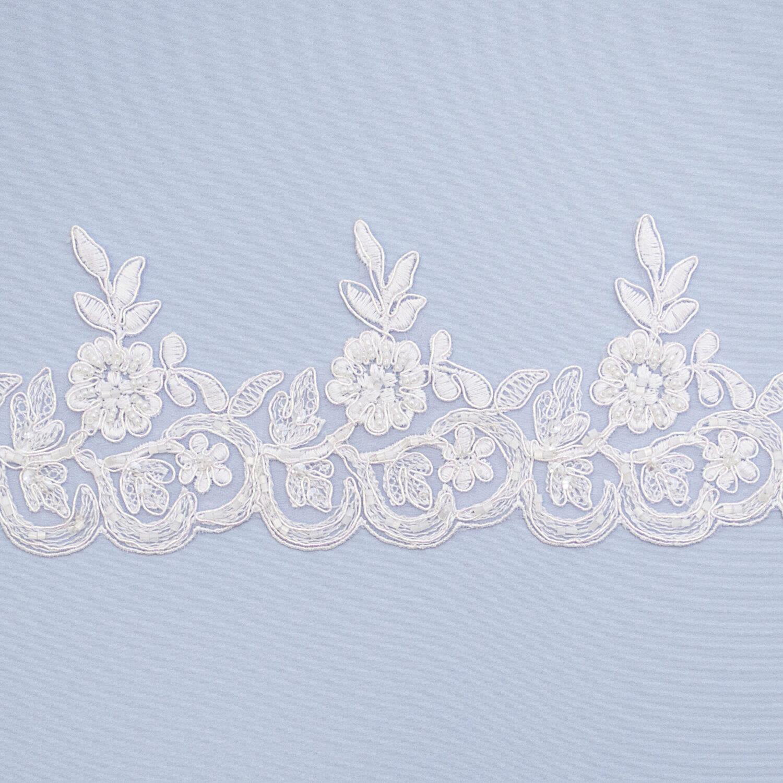 Embroidered lace trim L9186-1CB-PO