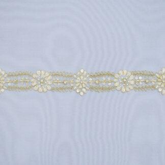 Embroidered lace trim C1037CGB-1-PO