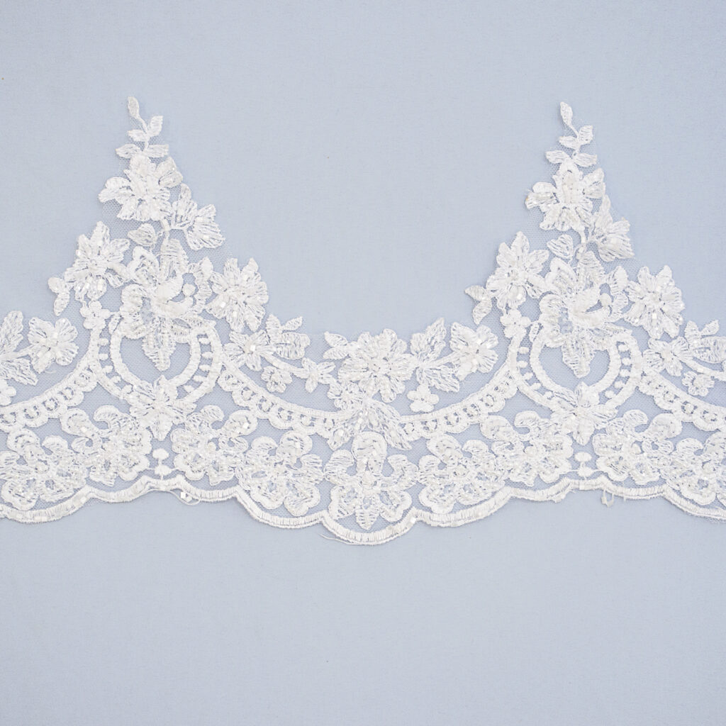 Embroidered lace trim M9674FB-N44