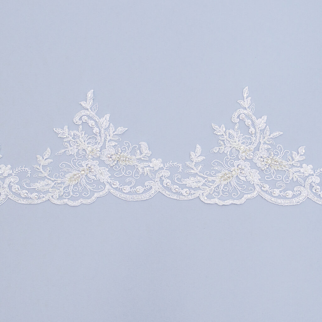 Embroidered lace trim T1124FB-N44